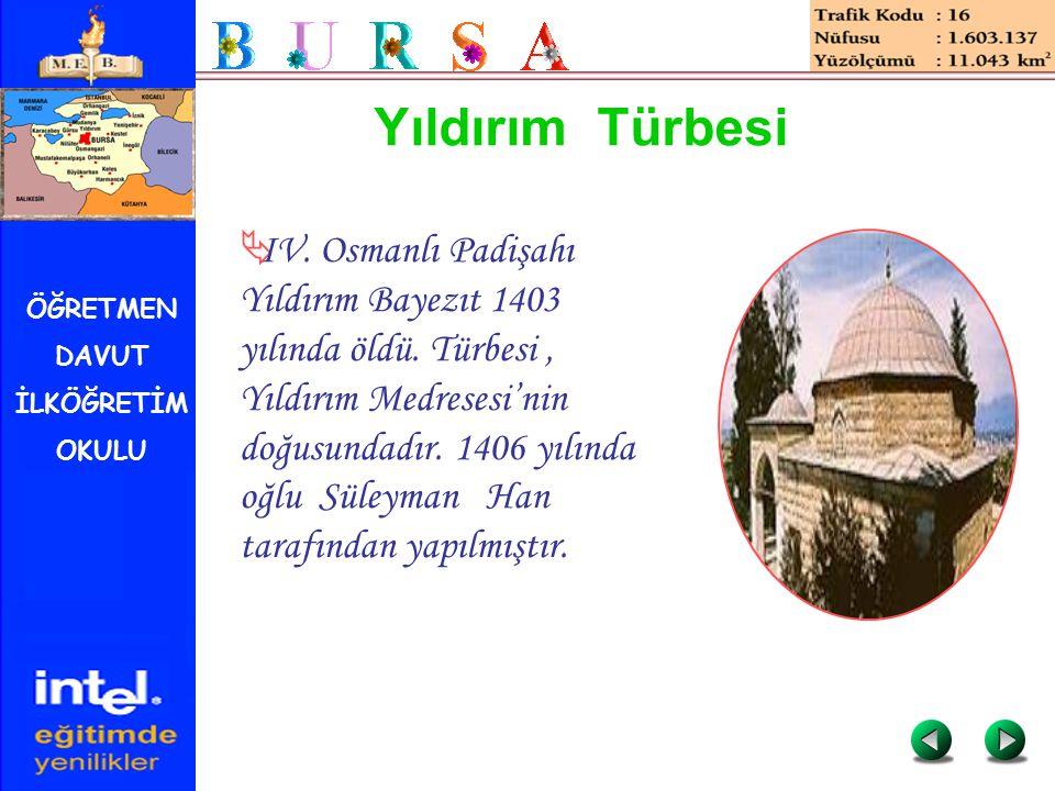 ÖĞRETMEN DAVUT İLKÖĞRETİM OKULU Yıldırım Türbesi  IV. Osmanlı Padişahı Yıldırım Bayezıt 1403 yılında öldü. Türbesi, Yıldırım Medresesi'nin doğusundad