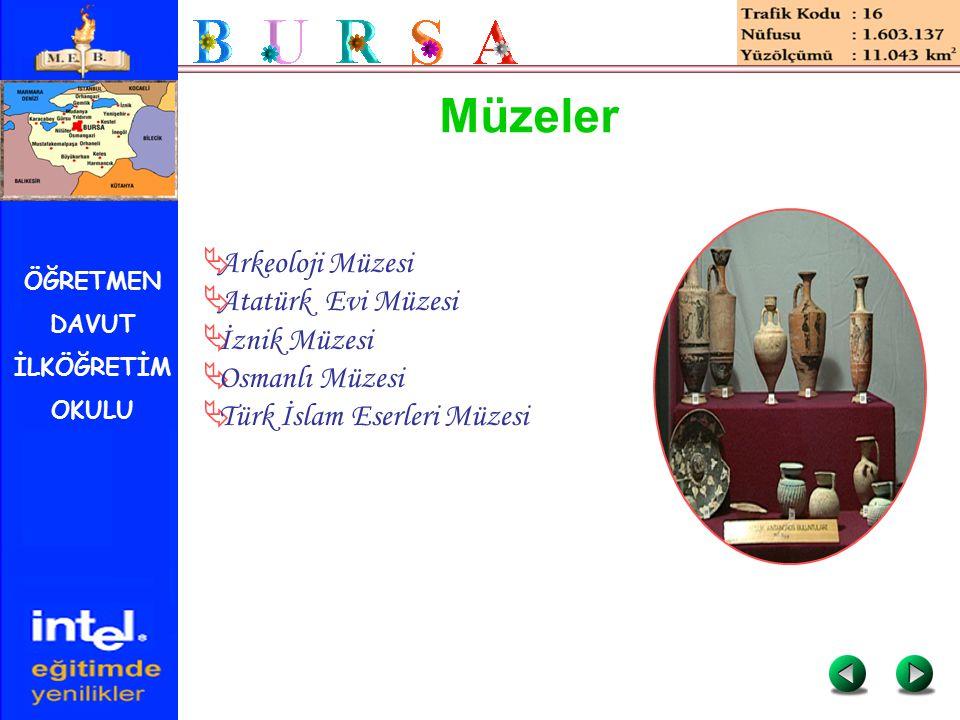 ÖĞRETMEN DAVUT İLKÖĞRETİM OKULU Müzeler  Arkeoloji Müzesi  Atatürk Evi Müzesi  İznik Müzesi  Osmanlı Müzesi  Türk İslam Eserleri Müzesi
