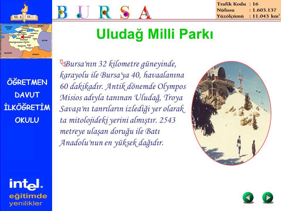 ÖĞRETMEN DAVUT İLKÖĞRETİM OKULU Uludağ Milli Parkı  Bursa'nın 32 kilometre güneyinde, karayolu ile Bursa'ya 40, havaalanına 60 dakikadır. Antik dönem
