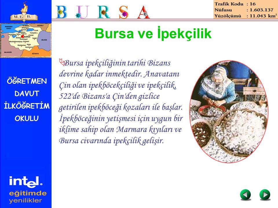 ÖĞRETMEN DAVUT İLKÖĞRETİM OKULU Bursa ve İpekçilik  Bursa ipekçiliğinin tarihi Bizans devrine kadar inmektedir. Anavatanı Çin olan ipekböcekçiliği ve