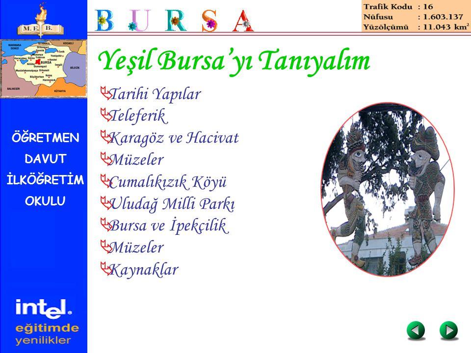 ÖĞRETMEN DAVUT İLKÖĞRETİM OKULU Yeşil Bursa'yı Tanıyalım  Tarihi Yapılar  Teleferik  Karagöz ve Hacivat  Müzeler  Cumalıkızık Köyü  Uludağ Milli
