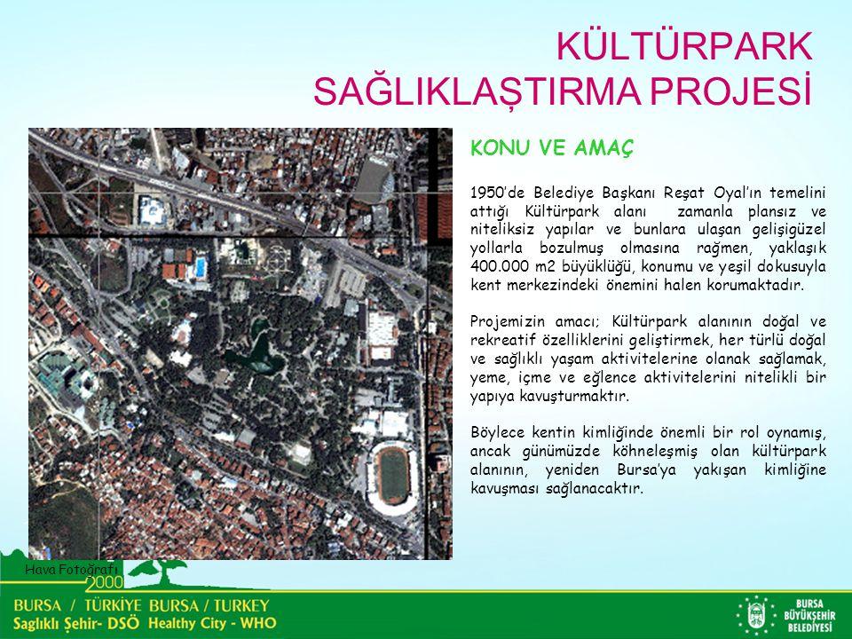 Hava Fotoğrafı KONU VE AMAÇ 1950'de Belediye Başkanı Reşat Oyal'ın temelini attığı Kültürpark alanı zamanla plansız ve niteliksiz yapılar ve bunlara ulaşan gelişigüzel yollarla bozulmuş olmasına rağmen, yaklaşık 400.000 m2 büyüklüğü, konumu ve yeşil dokusuyla kent merkezindeki önemini halen korumaktadır.