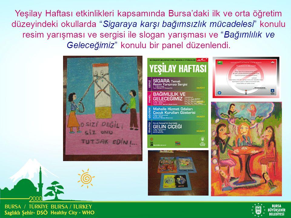 Yeşilay Haftası etkinlikleri kapsamında Bursa'daki ilk ve orta öğretim düzeyindeki okullarda Sigaraya karşı bağımsızlık mücadelesi konulu resim yarışması ve sergisi ile slogan yarışması ve Bağımlılık ve Geleceğimiz konulu bir panel düzenlendi.