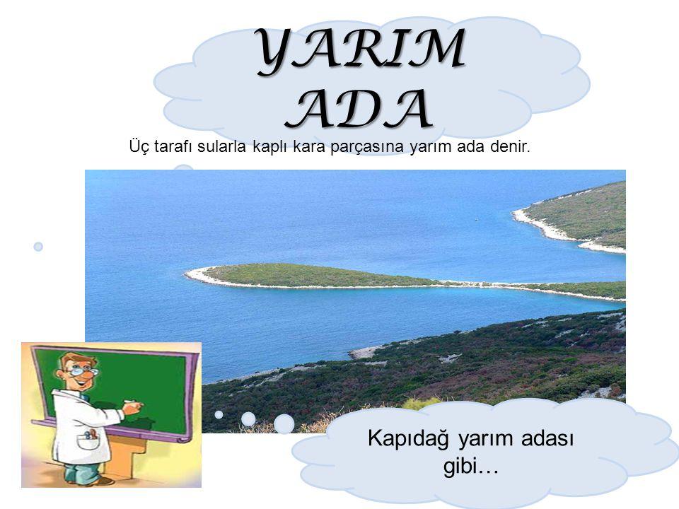 YARIM ADA Üç tarafı sularla kaplı kara parçasına yarım ada denir. Kapıdağ yarım adası gibi…