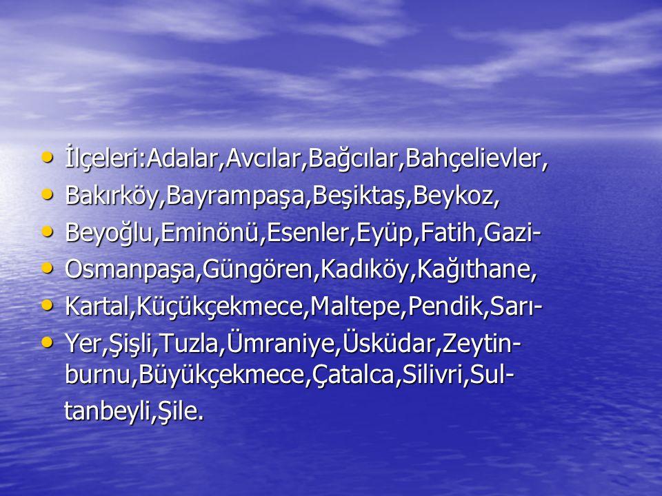 İlçeleri:Adalar,Avcılar,Bağcılar,Bahçelievler, İlçeleri:Adalar,Avcılar,Bağcılar,Bahçelievler, Bakırköy,Bayrampaşa,Beşiktaş,Beykoz, Bakırköy,Bayrampaşa,Beşiktaş,Beykoz, Beyoğlu,Eminönü,Esenler,Eyüp,Fatih,Gazi- Beyoğlu,Eminönü,Esenler,Eyüp,Fatih,Gazi- Osmanpaşa,Güngören,Kadıköy,Kağıthane, Osmanpaşa,Güngören,Kadıköy,Kağıthane, Kartal,Küçükçekmece,Maltepe,Pendik,Sarı- Kartal,Küçükçekmece,Maltepe,Pendik,Sarı- Yer,Şişli,Tuzla,Ümraniye,Üsküdar,Zeytin- burnu,Büyükçekmece,Çatalca,Silivri,Sul- Yer,Şişli,Tuzla,Ümraniye,Üsküdar,Zeytin- burnu,Büyükçekmece,Çatalca,Silivri,Sul- tanbeyli,Şile.