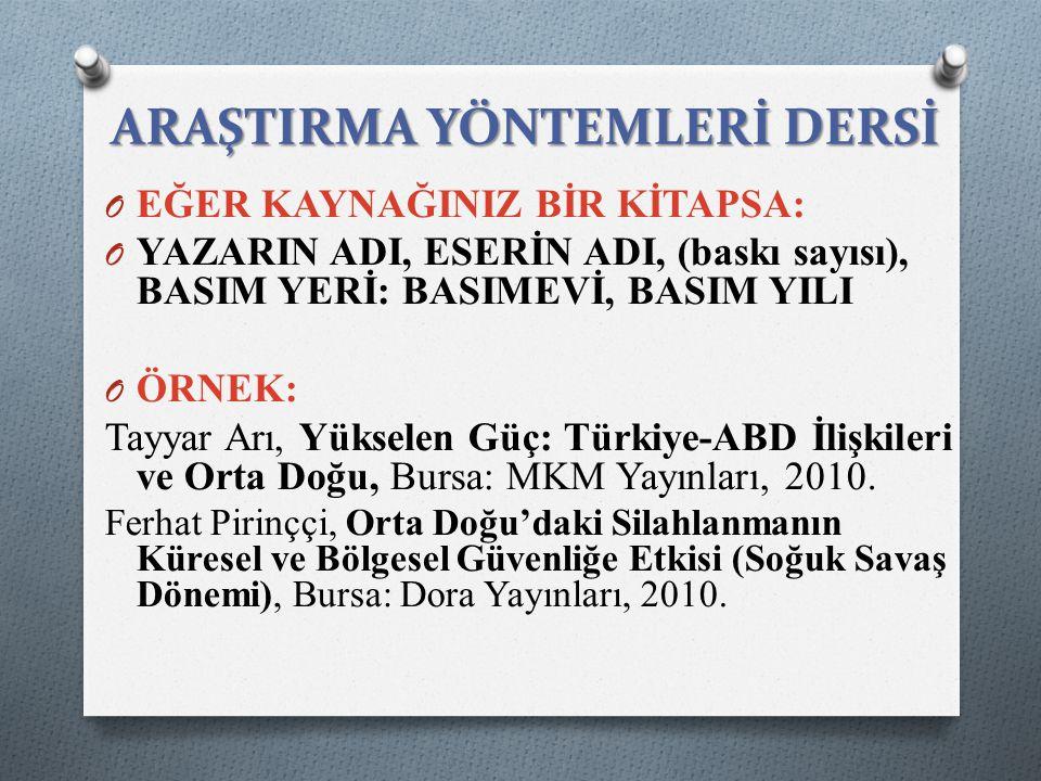 EĞER KAYNAĞINIZ BİR KİTAPTAKİ MAKALEYSE: O YAZAR ADI, MAKALE ADI , KİTAP ADI, DERLEYEN ADI, BASIM YERİ: Basımevi, BASIM YILI, (MAKALENİN SAYFA SAYISI) ÖRNEK: O Tayyar Arı, Türkiye'nin Orta Doğu Politikası , Su Sorunu, Orta Doğu ve Türkiye, Der: Sabahattin Şen, İstanbul: Bağlam Yayınları, 1996, ss.