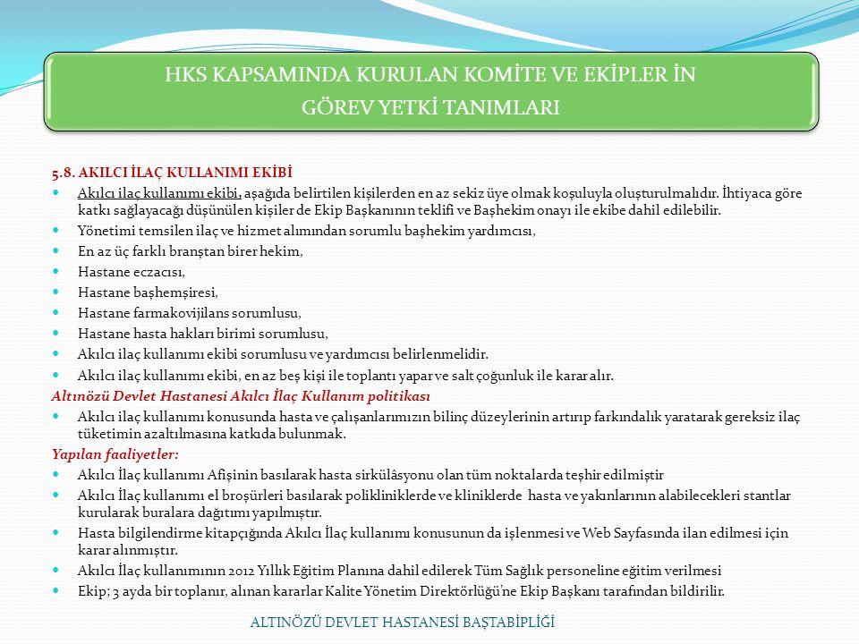HKS KAPSAMINDA KURULAN KOMİTE VE EKİPLER İN GÖREV YETKİ TANIMLARI 5.8.