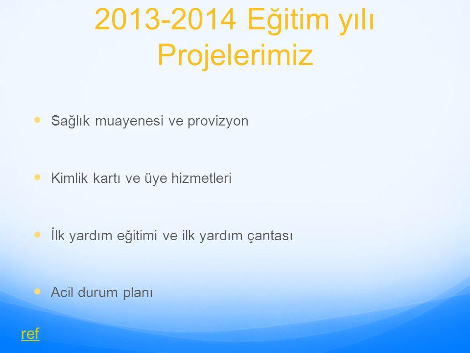 2013-2014 Eğitim yılı Projelerimiz Sağlık muayenesi ve provizyon Kimlik kartı ve üye hizmetleri İlk yardım eğitimi ve ilk yardım çantası Acil durum pl