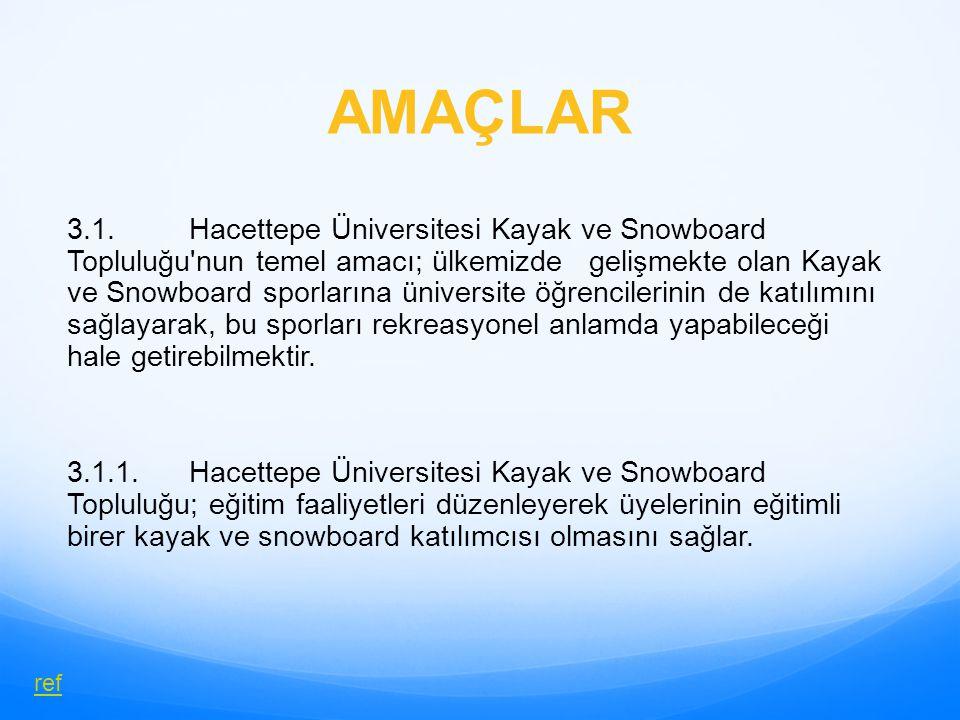 AMAÇLAR 3.1. Hacettepe Üniversitesi Kayak ve Snowboard Topluluğu'nun temel amacı; ülkemizde gelişmekte olan Kayak ve Snowboard sporlarına üniversite ö