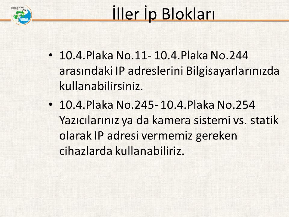 İller İp Blokları 10.4.Plaka No.11- 10.4.Plaka No.244 arasındaki IP adreslerini Bilgisayarlarınızda kullanabilirsiniz. 10.4.Plaka No.245- 10.4.Plaka N