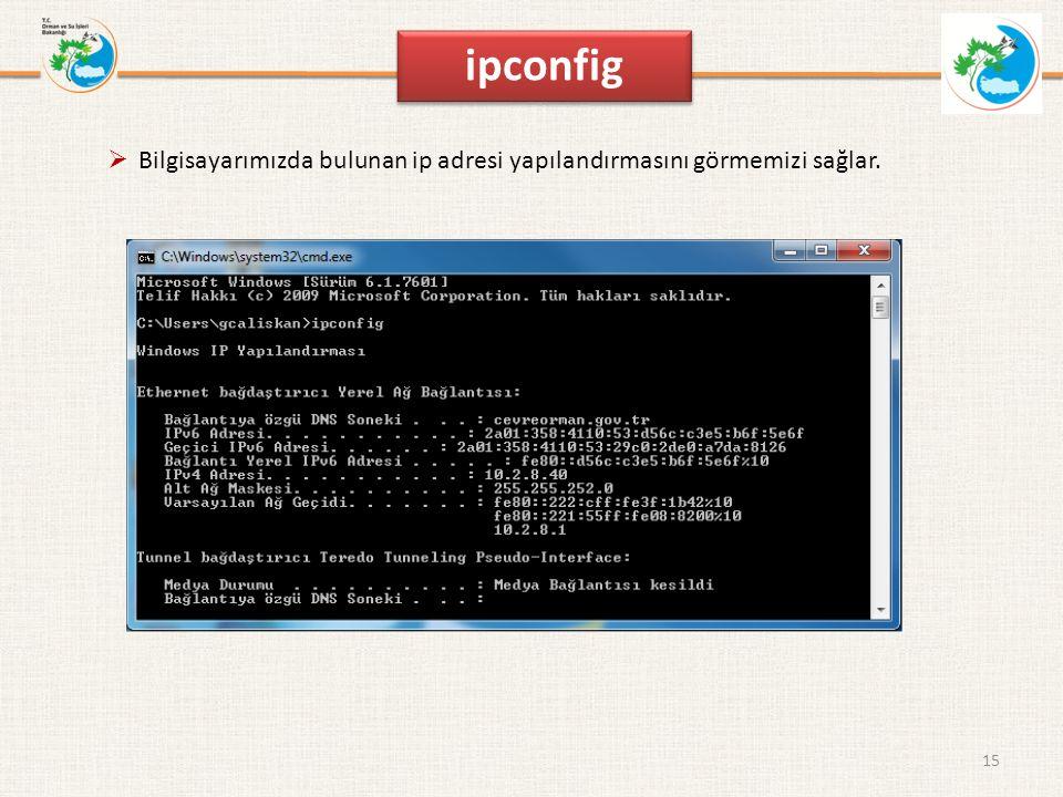 ipconfig 15  Bilgisayarımızda bulunan ip adresi yapılandırmasını görmemizi sağlar.