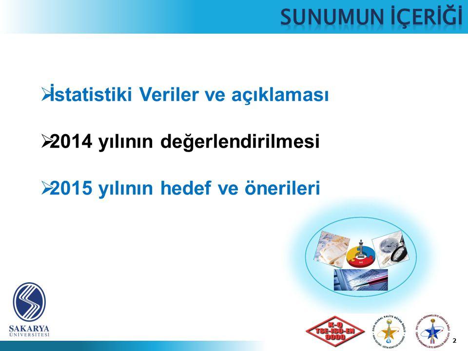 2  İstatistiki Veriler ve açıklaması  2014 yılının değerlendirilmesi  2015 yılının hedef ve önerileri