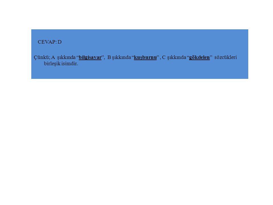 Aşağıdaki kelimelerden hangisi yapısı yönüyle diğerlerinden farklıdır.