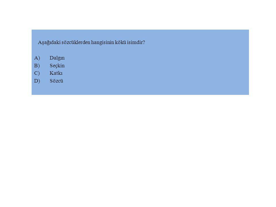 Aşağıdaki sözcüklerden hangisinin kökü isimdir? A)Dalgın B)Seçkin C)Katkı D)Sözcü