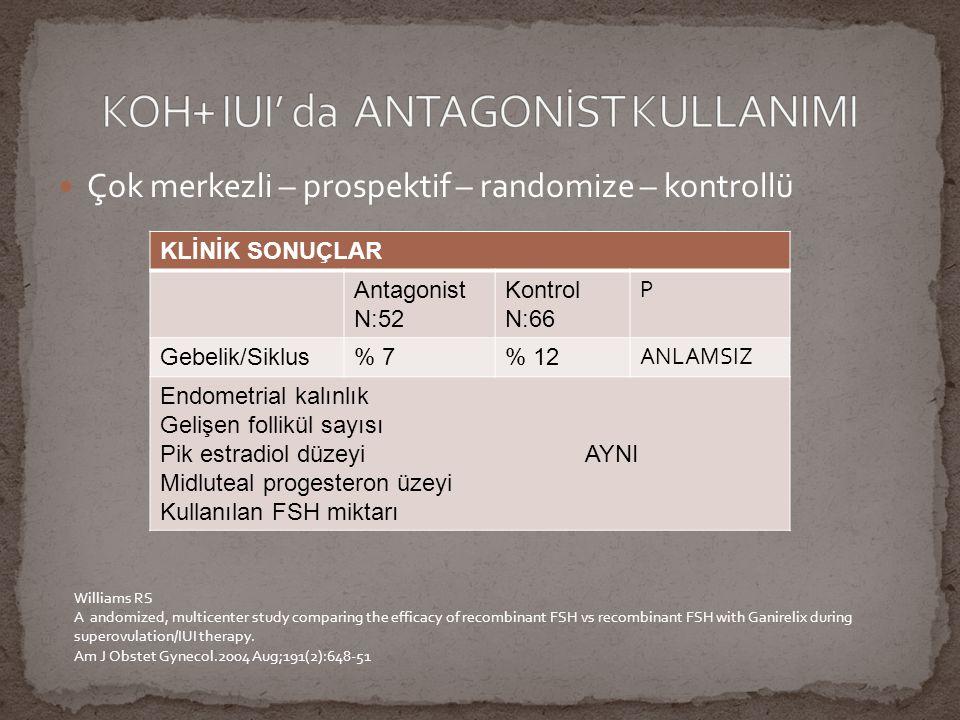SİKLUS ÖZELLİKLERİ Antagonist N:144 Kontrol N.158 P değeri Gebelik2816 Klinik gebelik Oranı (%)28/52 (53.8)16/52 (30.8)0.017 Düşük (%)7/28 (25)4/16 (30.8)Anlamsız Çoğul Gebelik (%)4/28 (14.3)1716 (6.3)Anlamsız İkiz41 OHSS00