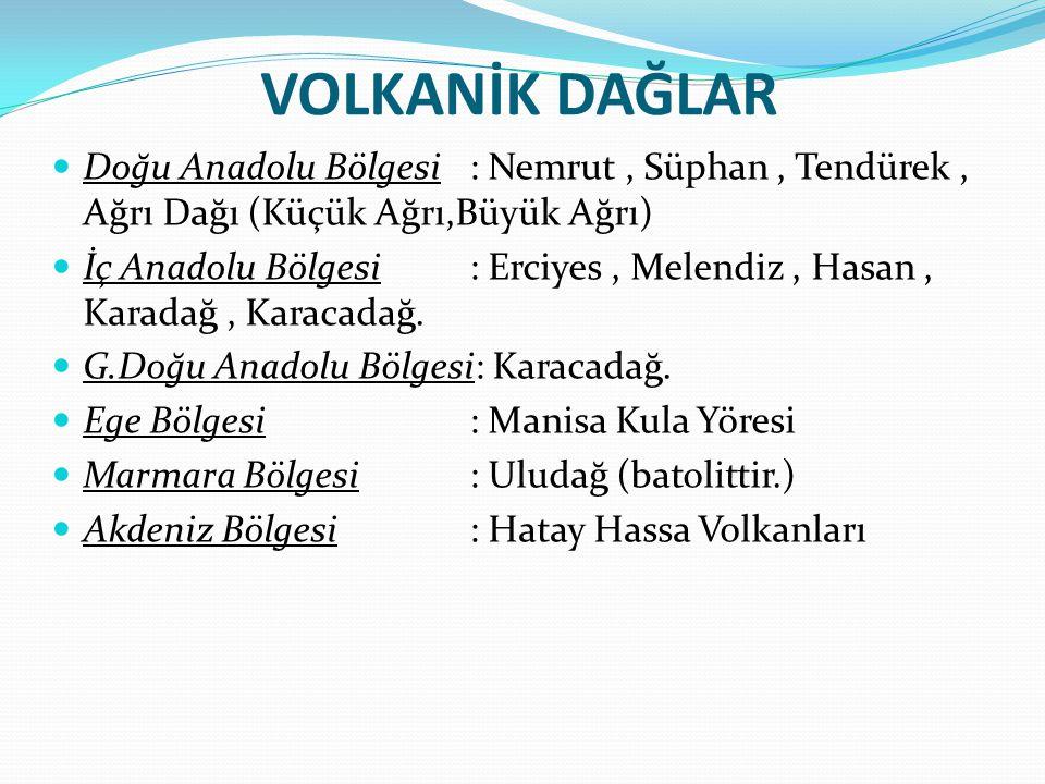 VOLKANİK DAĞLAR Doğu Anadolu Bölgesi : Nemrut, Süphan, Tendürek, Ağrı Dağı (Küçük Ağrı,Büyük Ağrı) İç Anadolu Bölgesi : Erciyes, Melendiz, Hasan, Kara