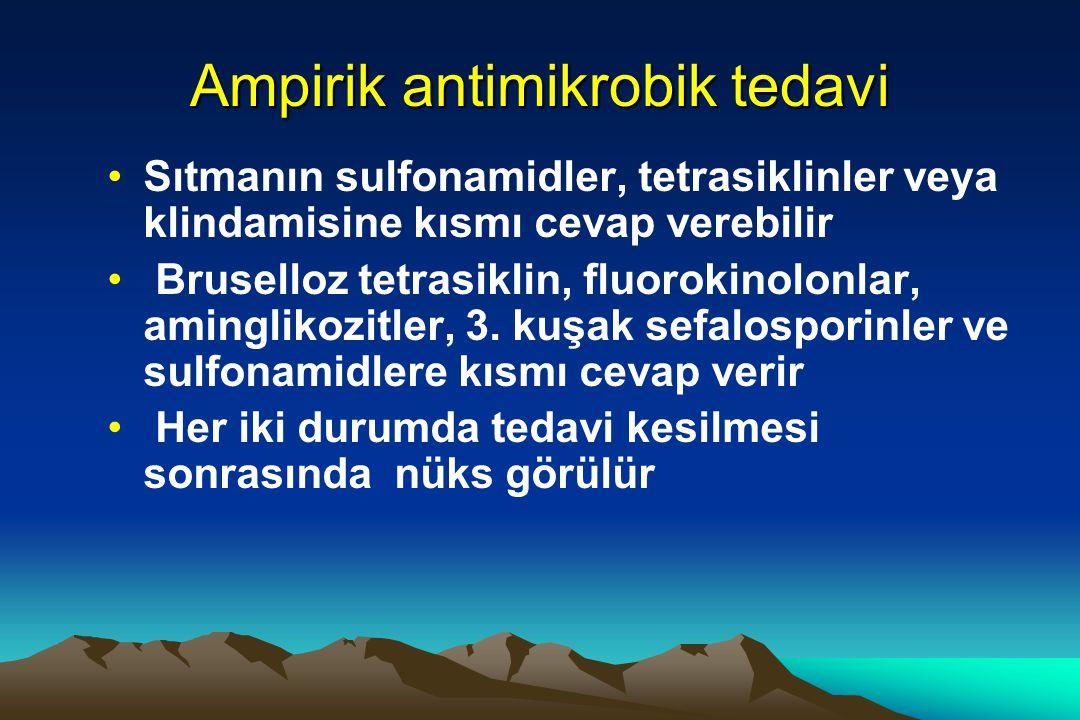 Ampirik antimikrobik tedavi Sıtmanın sulfonamidler, tetrasiklinler veya klindamisine kısmı cevap verebilir Bruselloz tetrasiklin, fluorokinolonlar, aminglikozitler, 3.