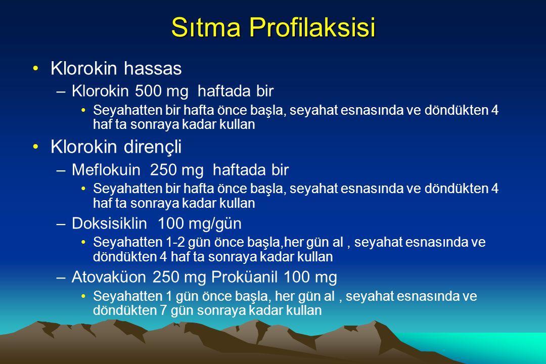 Sıtma Profilaksisi Klorokin hassas –Klorokin 500 mg haftada bir Seyahatten bir hafta önce başla, seyahat esnasında ve döndükten 4 haf ta sonraya kadar kullan Klorokin dirençli –Meflokuin 250 mg haftada bir Seyahatten bir hafta önce başla, seyahat esnasında ve döndükten 4 haf ta sonraya kadar kullan –Doksisiklin 100 mg/gün Seyahatten 1-2 gün önce başla,her gün al, seyahat esnasında ve döndükten 4 haf ta sonraya kadar kullan –Atovaküon 250 mg Proküanil 100 mg Seyahatten 1 gün önce başla, her gün al, seyahat esnasında ve döndükten 7 gün sonraya kadar kullan