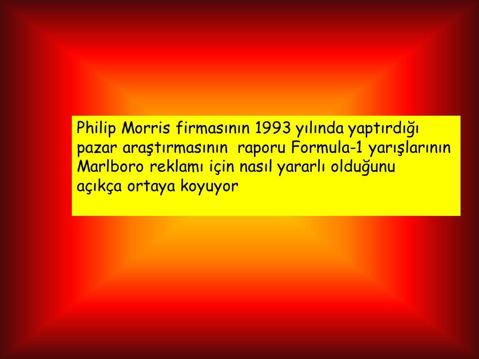 Philip Morris firmasının 1993 yılında yaptırdığı pazar araştırmasının raporu Formula-1 yarışlarının Marlboro reklamı için nasıl yararlı olduğunu açıkça ortaya koyuyor