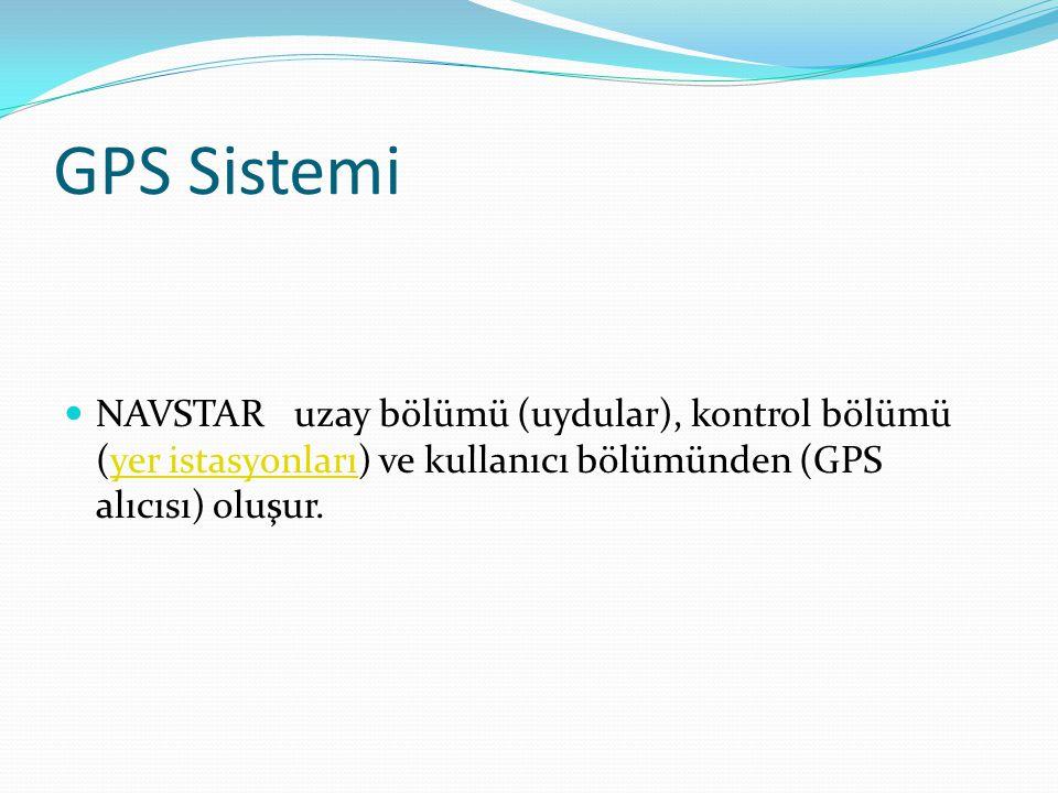 GPS Sistemi NAVSTAR uzay bölümü (uydular), kontrol bölümü (yer istasyonları) ve kullanıcı bölümünden (GPS alıcısı) oluşur.yer istasyonları