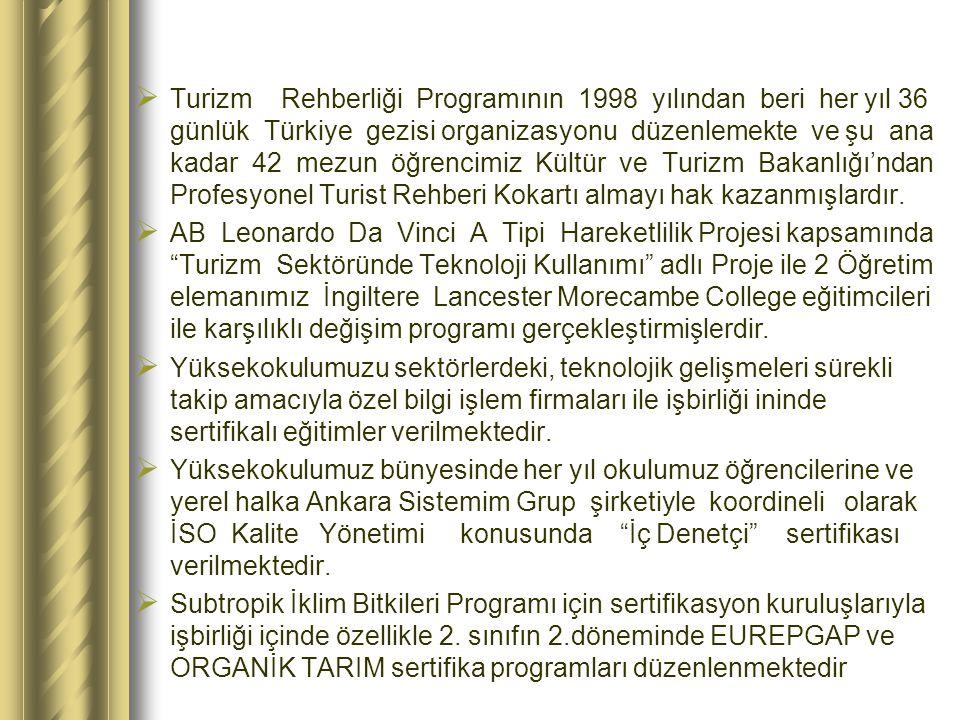  Turizm Rehberliği Programının 1998 yılından beri her yıl 36 günlük Türkiye gezisi organizasyonu düzenlemekte ve şu ana kadar 42 mezun öğrencimiz Kültür ve Turizm Bakanlığı'ndan Profesyonel Turist Rehberi Kokartı almayı hak kazanmışlardır.