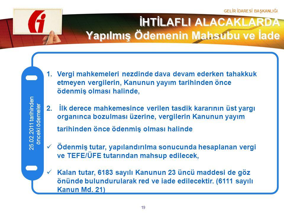 GELİR İDARESİ BAŞKANLIĞI 19 İHTİLAFLI ALACAKLARDA Yapılmış Ödemenin Mahsubu ve İade 25.02.2011 tarihinden önceki ödemeler 1.Vergi mahkemeleri nezdinde
