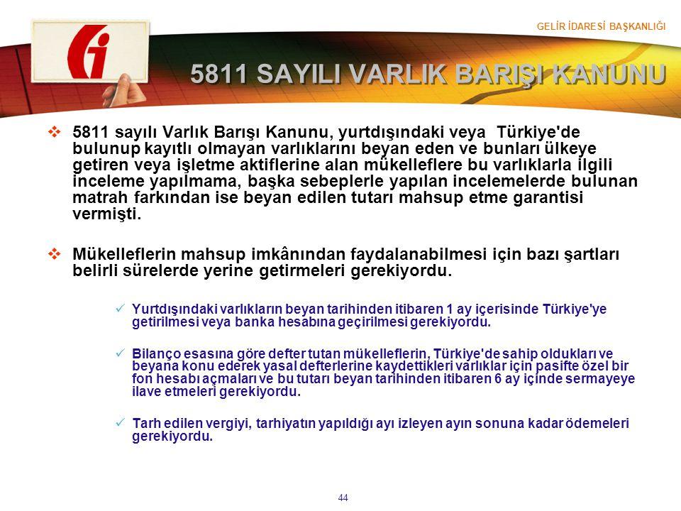 GELİR İDARESİ BAŞKANLIĞI 44 5811 SAYILI VARLIK BARIŞI KANUNU  5811 sayılı Varlık Barışı Kanunu, yurtdışındaki veya Türkiye'de bulunup kayıtlı olmayan