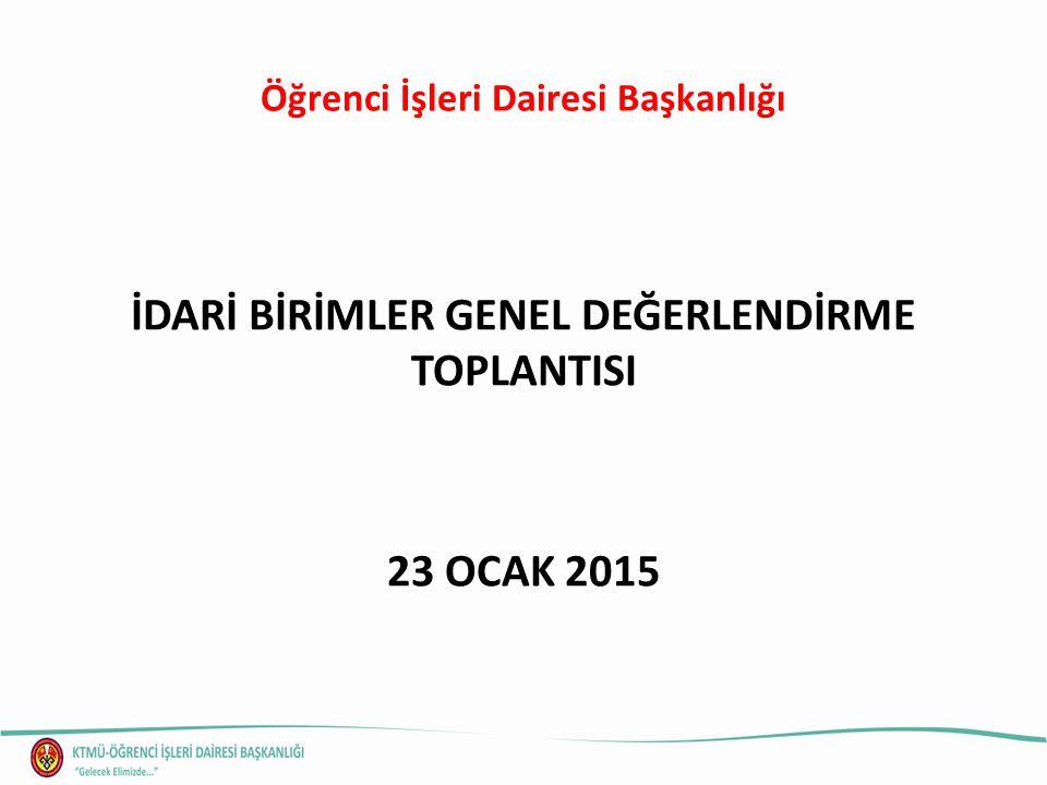 Öğrenci İşleri Dairesi Başkanlığı İDARİ BİRİMLER GENEL DEĞERLENDİRME TOPLANTISI 23 OCAK 2015