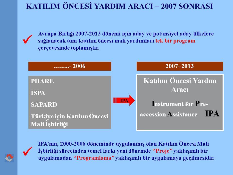 KATILIM ÖNCESİ YARDIM ARACI – 2007 SONRASI Avrupa Birliği 2007-2013 dönemi için aday ve potansiyel aday ülkelere sağlanacak tüm katılım öncesi mali yardımları tek bir program çerçevesinde toplamıştır.