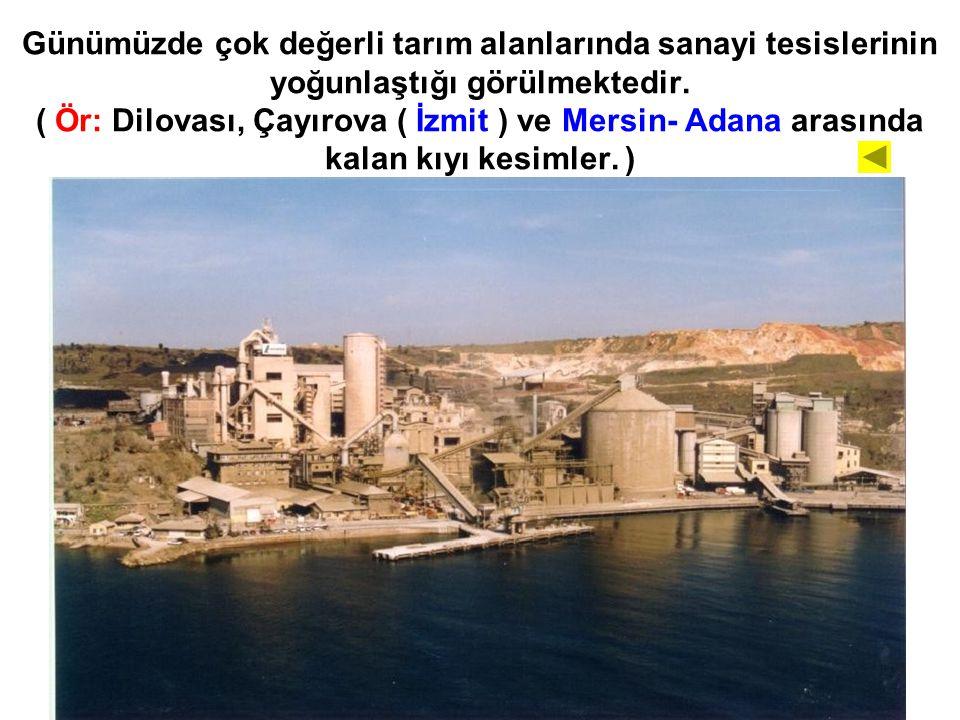 Günümüzde çok değerli tarım alanlarında sanayi tesislerinin yoğunlaştığı görülmektedir. ( Ör: Dilovası, Çayırova ( İzmit ) ve Mersin- Adana arasında k