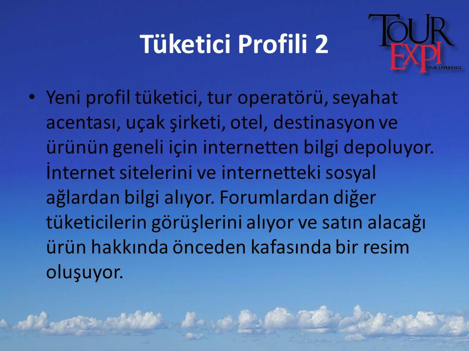 Tüketici Profili 2 Yeni profil tüketici, tur operatörü, seyahat acentası, uçak şirketi, otel, destinasyon ve ürünün geneli için internetten bilgi depo
