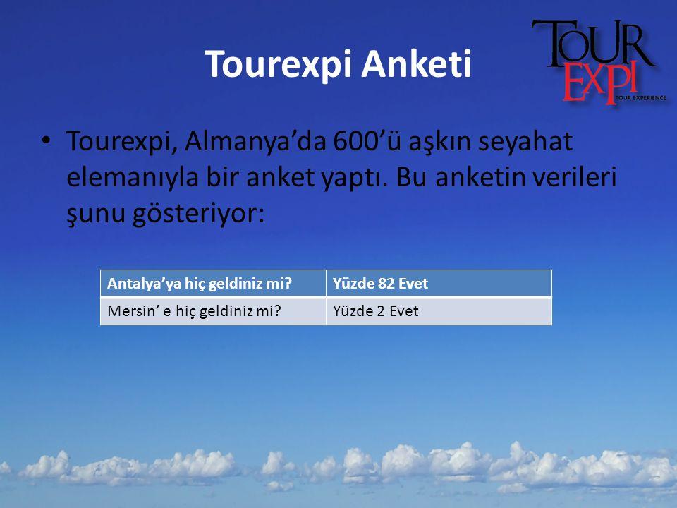 Tourexpi Anketi Tourexpi, Almanya'da 600'ü aşkın seyahat elemanıyla bir anket yaptı. Bu anketin verileri şunu gösteriyor: Antalya'ya hiç geldiniz mi?Y