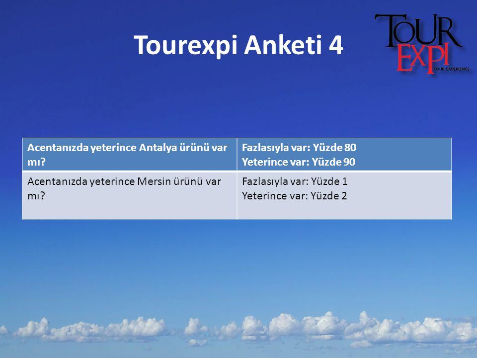 Tourexpi Anketi 4 Acentanızda yeterince Antalya ürünü var mı? Fazlasıyla var: Yüzde 80 Yeterince var: Yüzde 90 Acentanızda yeterince Mersin ürünü var