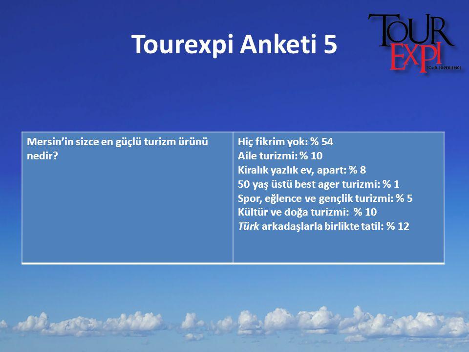 Tourexpi Anketi 5 Mersin'in sizce en güçlü turizm ürünü nedir? Hiç fikrim yok: % 54 Aile turizmi: % 10 Kiralık yazlık ev, apart: % 8 50 yaş üstü best