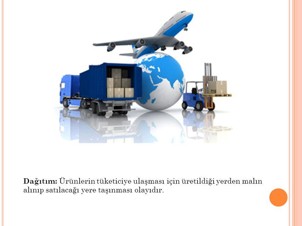 Dağıtım: Ürünlerin tüketiciye ulaşması için üretildiği yerden malın alınıp satılacağı yere taşınması olayıdır.