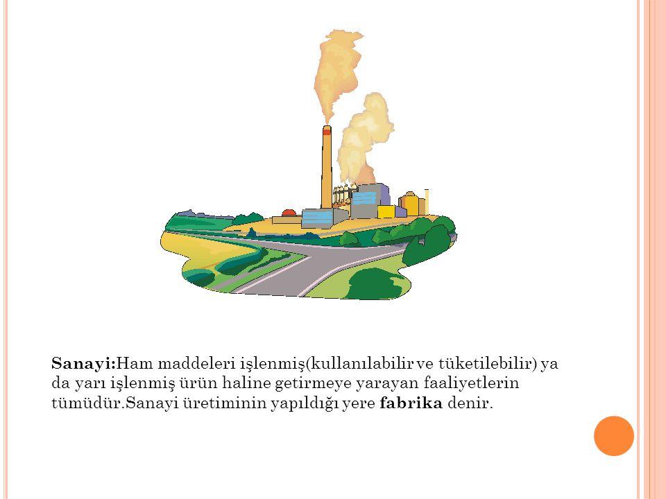 Sanayi: Ham maddeleri işlenmiş(kullanılabilir ve tüketilebilir) ya da yarı işlenmiş ürün haline getirmeye yarayan faaliyetlerin tümüdür.Sanayi üretimi