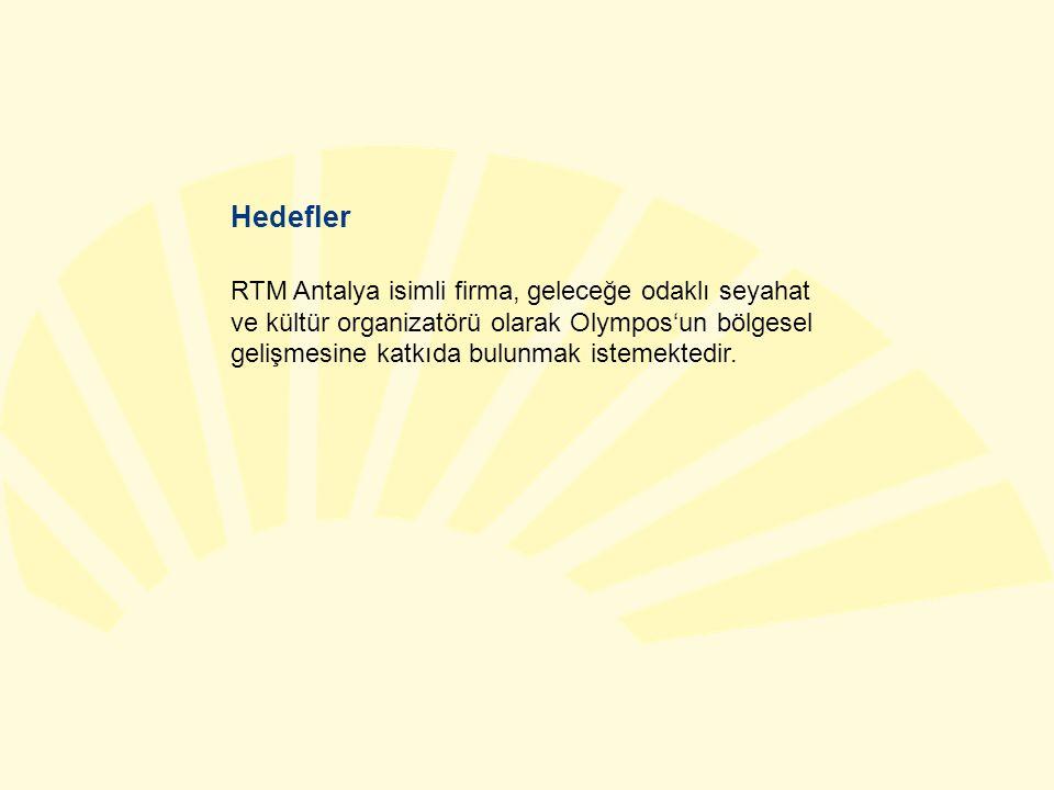 Hedefler RTM Antalya isimli firma, geleceğe odaklı seyahat ve kültür organizatörü olarak Olympos'un bölgesel gelişmesine katkıda bulunmak istemektedir.