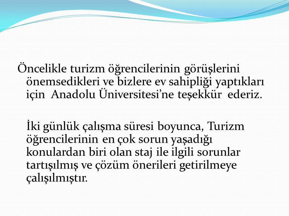 Öncelikle turizm öğrencilerinin görüşlerini önemsedikleri ve bizlere ev sahipliği yaptıkları için Anadolu Üniversitesi'ne teşekkür ederiz.