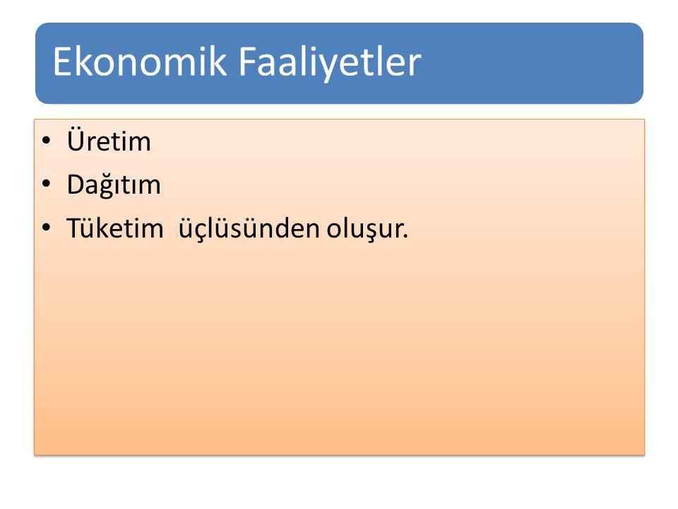 Ekonomik Faaliyetler Üretim Dağıtım Tüketim üçlüsünden oluşur. Üretim Dağıtım Tüketim üçlüsünden oluşur.