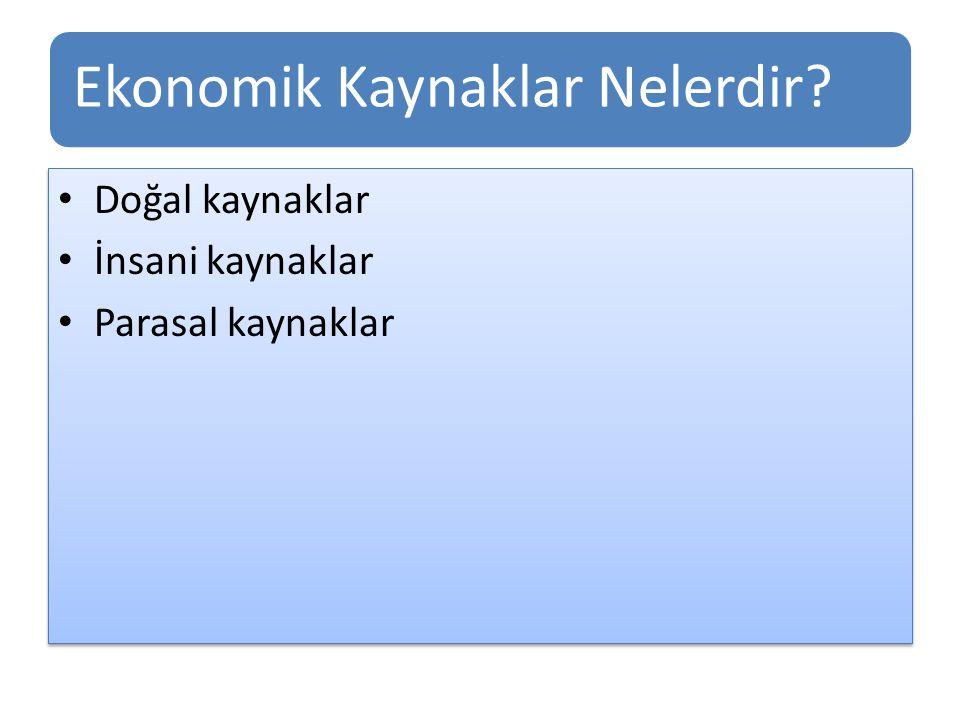 Ekonomik Kaynaklar Nelerdir? Doğal kaynaklar İnsani kaynaklar Parasal kaynaklar Doğal kaynaklar İnsani kaynaklar Parasal kaynaklar