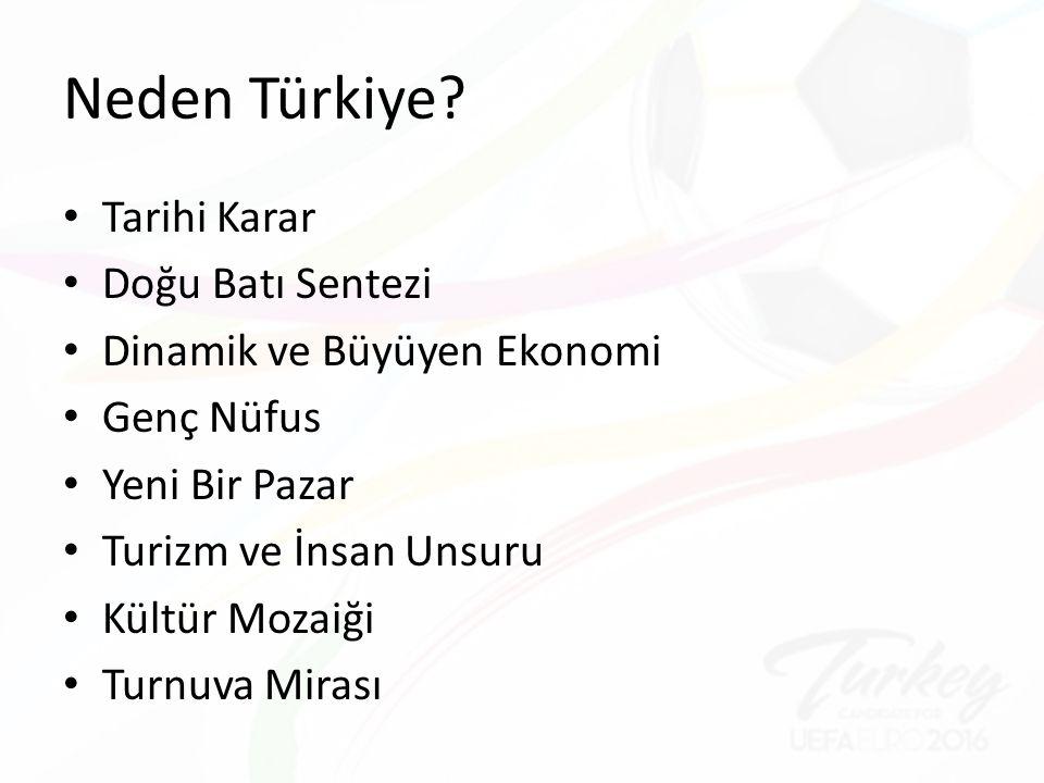 Neden Türkiye? Tarihi Karar Doğu Batı Sentezi Dinamik ve Büyüyen Ekonomi Genç Nüfus Yeni Bir Pazar Turizm ve İnsan Unsuru Kültür Mozaiği Turnuva Miras