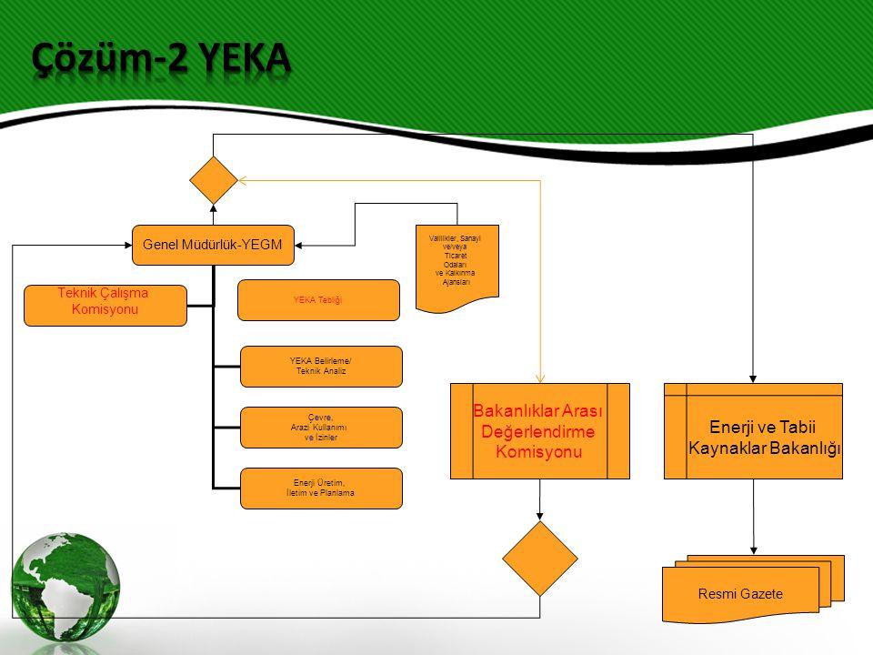 Genel Müdürlük-YEGM YEKA Belirleme/ Teknik Analiz Çevre, Arazi Kullanımı ve İzinler Enerji Üretim, İletim ve Planlama Teknik Çalışma Komisyonu Bakanlıklar Arası Değerlendirme Komisyonu Enerji ve Tabii Kaynaklar Bakanlığı Resmi Gazete Valilikler, Sanayi ve/veya Ticaret Odaları ve Kalkınma Ajansları YEKA Tebliği