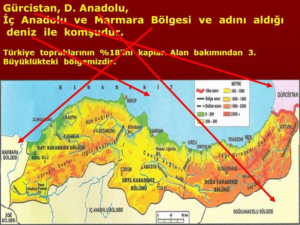 KARADENİZ BÖLGESİ Yurdumuzun kuzeyinde, Sakarya'nın doğusundan Gürcistan'a kadar Karadeniz'e paralel olarak bir şerit gibi uzanır.