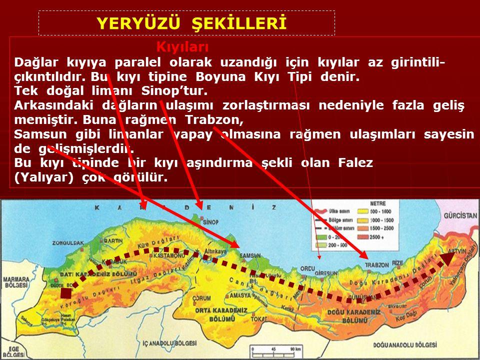 BÖLÜMLERİ 1.Batı Karadeniz 2.Orta Karadeniz 3.Doğu Karadeniz