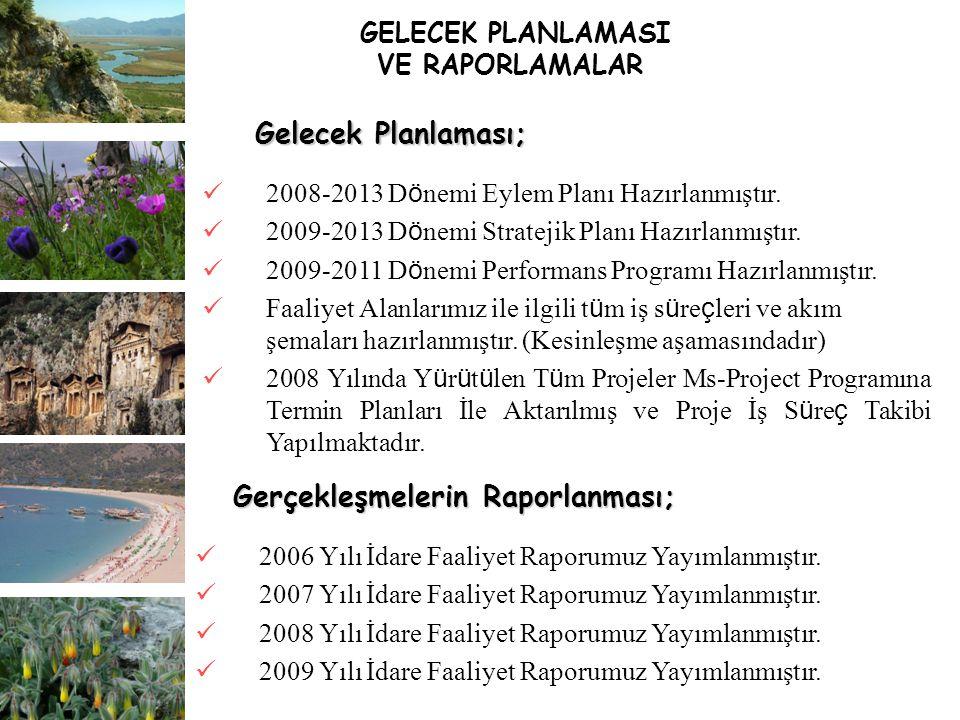 GELECEK PLANLAMASI VE RAPORLAMALAR 2008-2013 D ö nemi Eylem Planı Hazırlanmıştır. 2009-2013 D ö nemi Stratejik Planı Hazırlanmıştır. 2009-2011 D ö nem