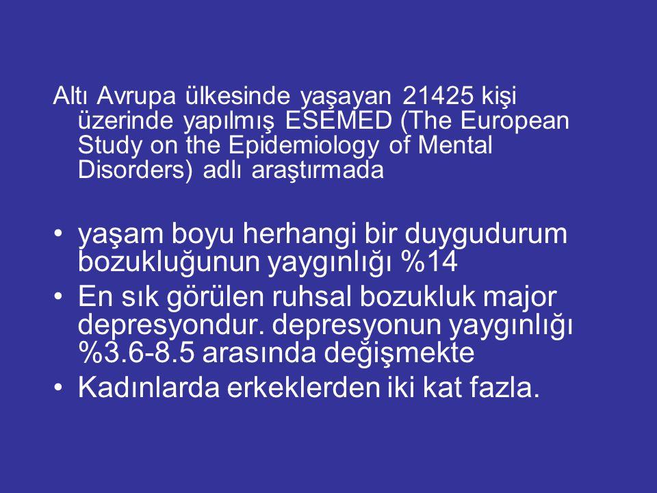 Altı Avrupa ülkesinde yaşayan 21425 kişi üzerinde yapılmış ESEMED (The European Study on the Epidemiology of Mental Disorders) adlı araştırmada yaşam