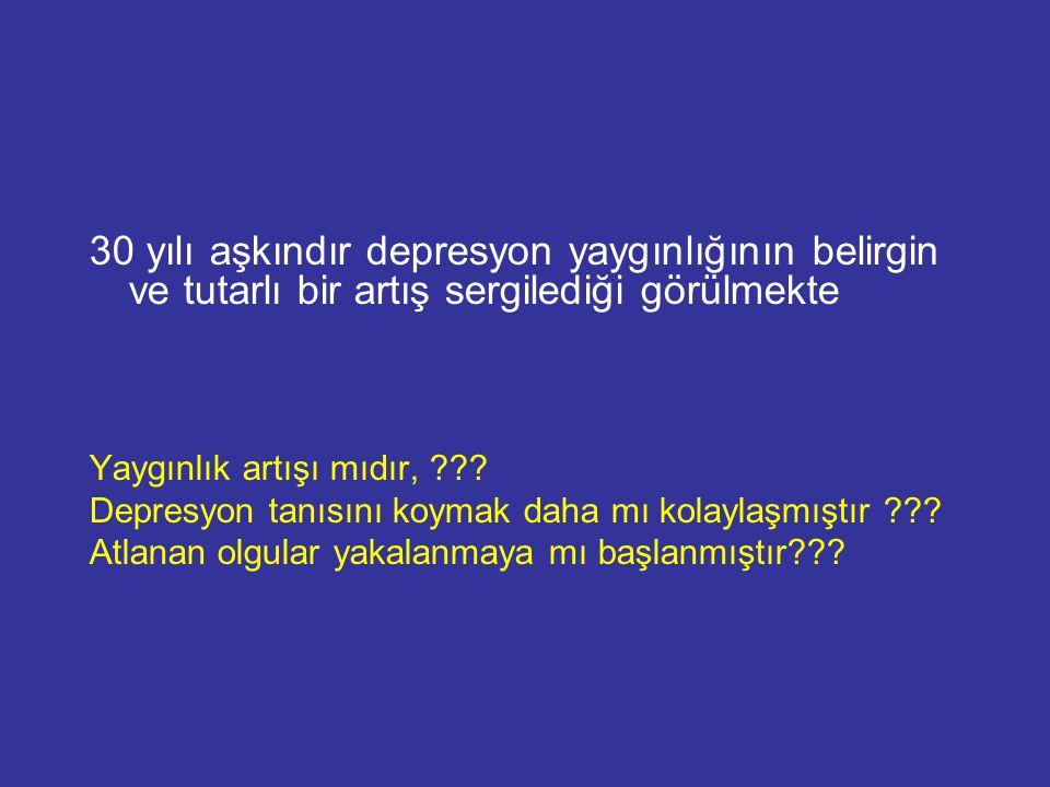 30 yılı aşkındır depresyon yaygınlığının belirgin ve tutarlı bir artış sergilediği görülmekte Yaygınlık artışı mıdır, ??? Depresyon tanısını koymak da
