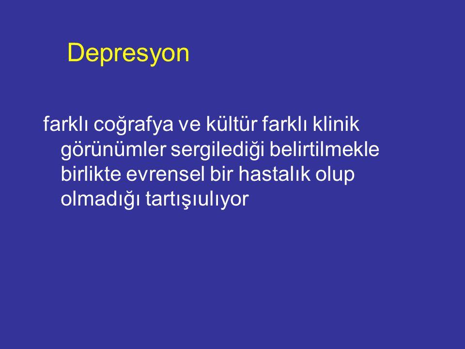 Türkiye'ye ilişkin bulgular Ülkemizde ruhsal bozuklukların toplum içindeki dağılımının incelendiği ilk araştırmalar 1960'larda yapılmıştır.
