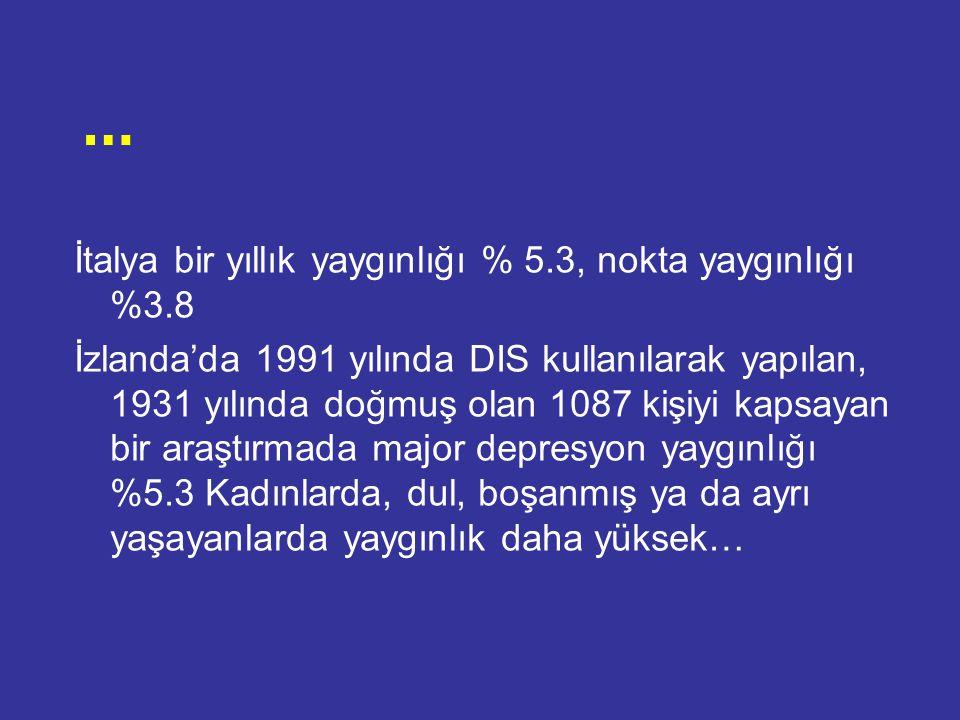 Doğan ve arkadaşları tarafından (1995) Sivas il merkezi Depresyonun bir aylık yaygınlığı % 18.8 bulunmuş...