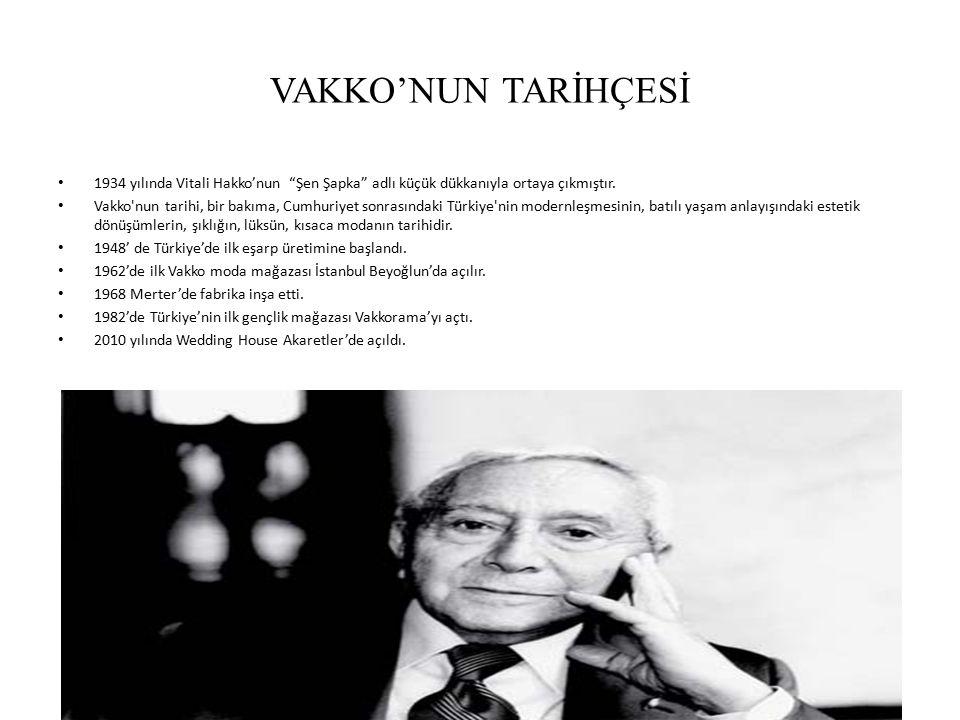 """VAKKO'NUN TARİHÇESİ 1934 yılında Vitali Hakko'nun """"Şen Şapka"""" adlı küçük dükkanıyla ortaya çıkmıştır. Vakko'nun tarihi, bir bakıma, Cumhuriyet sonrası"""